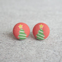 Rachel O's O Christmas Tree Fabric Button Earrings (0.5 inch wide)