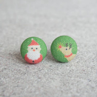 Rachel O's Santa and Rudolph Fabric Button Earrings (0.5 inch wide)