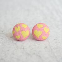 Rachel O's Warm Hearts Fabric Button Earrings (0.5 inch wide)