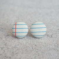 Rachel O's Notebook Fabric Button Earrings (0.5 inch wide)