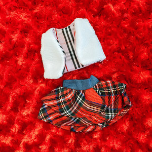 Ty Elf On The Shelf -  White Vest with Plaid Skirt