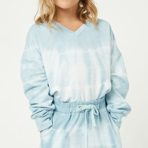 Hayden Blue Garment Tie-Dyed V-Neck Top (GY1344bluemix)