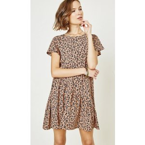 Hayden H8226 - Womens Latte Leopard Swing Dress