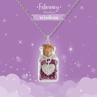 Girl Nation Birthstone Bottle Gems Necklace - February