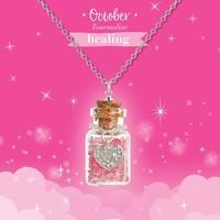 Girl Nation Birthstone Bottle Gems Necklace - October