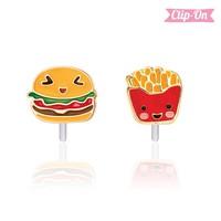 Girl Nation CLIP ON Earings - Burger & Fries