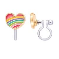 Girl Nation CLIP ON Cutie Earrings - Rainbow Heart