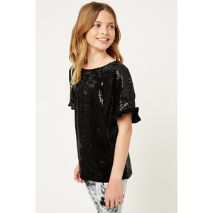 Hayden Sequin Ruffle Short Sleeve Shirt (G6635)