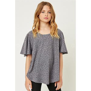 Hayden Stone Washed Leopard Tee - GREY (G9260)