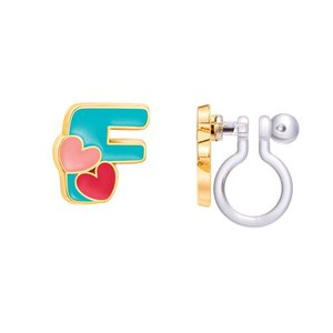 Girl Nation CLIP ON Cutie Initial Earrings- F