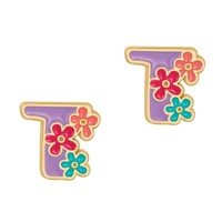 Girl Nation Cutie Initial Studs - T