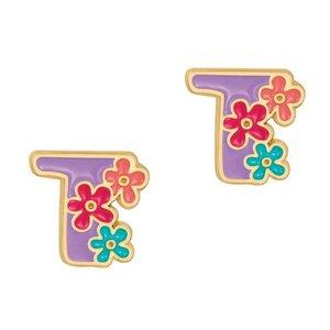 Girl Nation Cutie Initial Studs Earrings - T