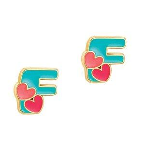 Girl Nation Cutie Initial Studs Earrings - F