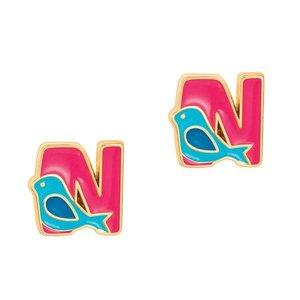 Girl Nation Cutie Initial Studs Earrings - N