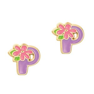 Girl Nation Cutie Initial Studs Earrings - P