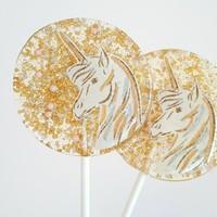 Sweet Caroline Confections Gold & Pink Unicorn Lollipop - Strawberry