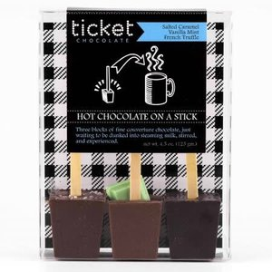 Ticket Chocolate Hot Chocolate on a Stick - Salted (Caramel, Vanilla Mint, & French Truffle (3 Pack)