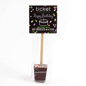 Ticket Chocolate Hot Chocolate on a Stick (Single) - Happy Birthday (Belgian Milk Chocolate))