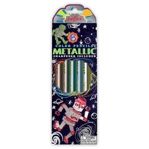 eeBoo Metallic Color Pencils Sharpener Included - Space Robots
