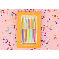Taylor Elliot Designs Compliments Themed - Set of 5 Colored Ink Pens