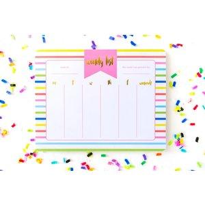 Taylor Elliot Designs Striped - Weekly Calendar Planner List Pad