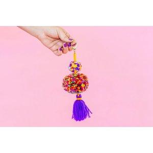 Taylor Elliot Designs Purple Multicolored Pom + Tassel Keychain