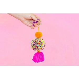 Taylor Elliot Designs Orange/Multi/Pink 2 Pom Keychain