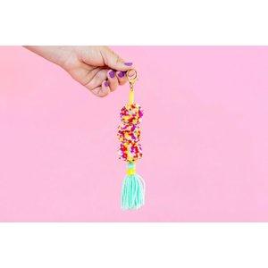 Taylor Elliot Designs Aqua Multi-Colored Pom + Tassel Keychain