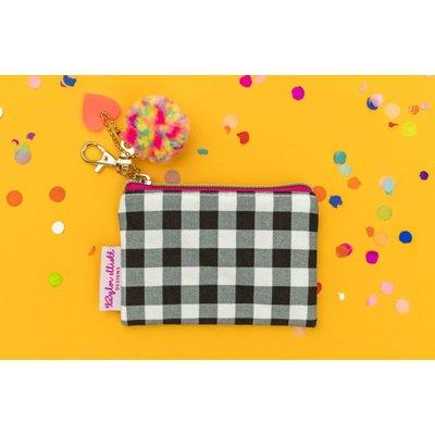 Taylor Elliot Designs Mini Black Gingham Card Holder Keychain