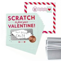 Inklings Paperie Scratch-off Valentine Cards - Mint  (18 Pack)