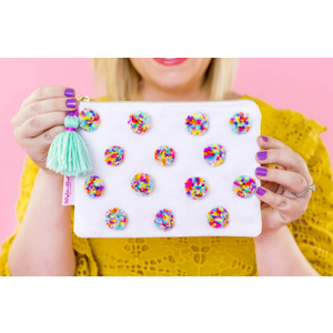 Taylor Elliot Designs Multi-Colored Pom Pom Pouch