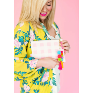 Taylor Elliot Designs Pink Gingham Pouch With Pom And Tassel Keychain