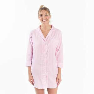 Bella iL Fiore Seersucker Button-Down Sleep Shirt - Pink