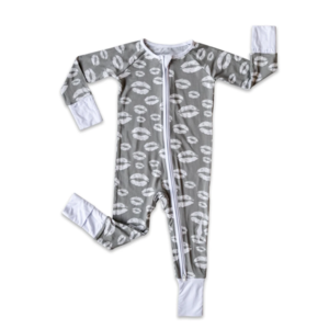 Little Sleepies Gray Kisses Zippy Bamboo Pajama Set