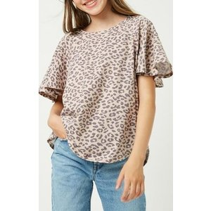 Hayden Stone Washed Leopard Tee - Taupe