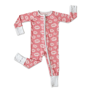 Little Sleepies Pink Kisses Zippy Bamboo Pajama Set
