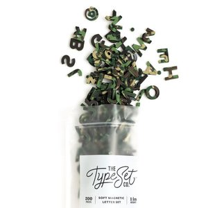 "The Type Set Co. Soft Magnetic Letter Set - Camo Confetti - 200 Pieces (1"")"