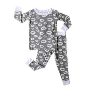 Little Sleepies Gray Kisses Two-Piece Bamboo Pajama Set