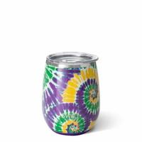 Swig 14 oz Stemless Cup - Mardi Gras Tie Dye