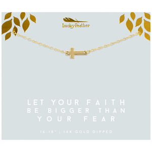 Lucky Feather Let Your Faith Be Bigger Than Your Fear Cross Necklace - Gold