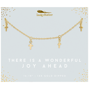 Lucky Feather There Is A Wonderful Joy Ahead Cross Necklace - Gold