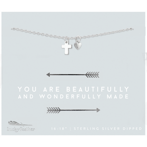 Lucky Feather You Are Beautifully And Wonderfully Made Necklace - Silver