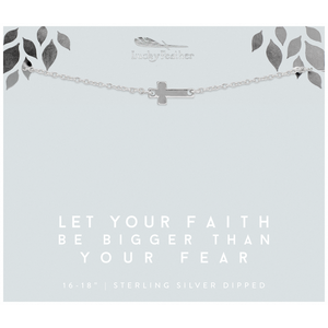 Lucky Feather Let Your Faith Be Bigger Than Your Fear Cross Necklace - Silver