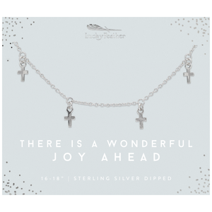 Lucky Feather There Is A Wonderful Joy Ahead Nacklace - Silver