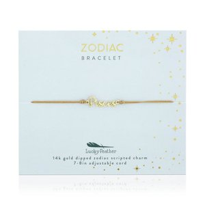 Lucky Feather Zodiac Cord Bracelet PISCES - Gold (February 19 - March 20)