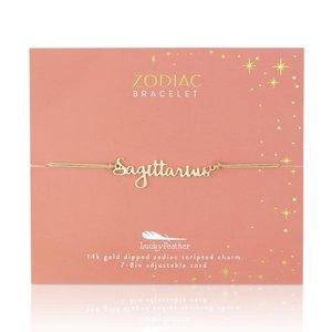 Lucky Feather Zodiac Cord Bracelet SAGITTARIUS - Gold (November 22 - December 21)