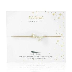 Lucky Feather Zodiac Cord Bracelet VIRGO - Gold (August 23 - September 22)