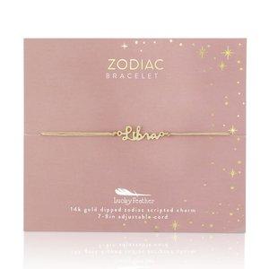 Lucky Feather Zodiac Cord Bracelet LIBRA - Gold (September 23 - October 22)