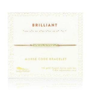 Lucky Feather Morse Code Bar Bracelet - BRILLIANT