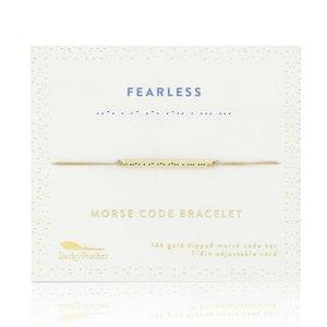 Lucky Feather Morse Code Bar Bracelet - FEARLESS